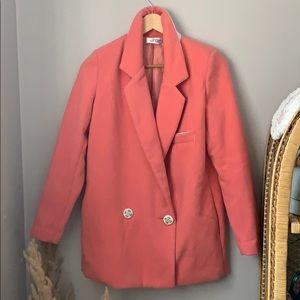 Jackets & Blazers - Fuzzy Pink Oversized Blazer with Shoulder Pads.